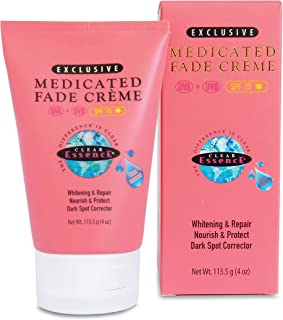 Clear Essence Medicated Fade Creme With SunscreenSPF 15 - Brightening Extra Strength Fade Cream For Dark Spots, Age Spots, Acne Scar& Sun Discolorations - Dermatologist Tested - (4 oz.)