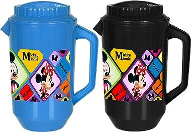 Heart Home Disney Mickey Minnie Print Plastic Water & Juice Jug with Plastic Lid, Drinking Beverage Jug, Glass Water Jug