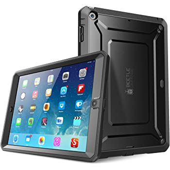 iPad Air Case, SUPCASE Heavy Duty Beetle Defense Series Full-Body Rugged Hybrid Protective Case Cover with Built-in Screen Protector for Apple iPad Air (Black/Black, not fit iPad Air 2)