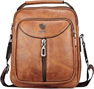 Elios Tan Brown Front Zipper Stylish PU Leather Large Capacity Work Travel Wear Messenger Bag For Men