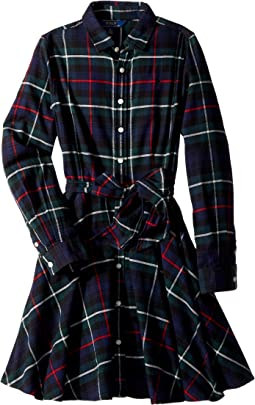 Polo Ralph Lauren Kids - Tartan Flannel Cotton Dress (Big Kids)