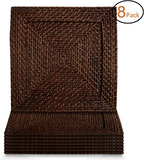 American Atelier Charger Plates 13 Inch Square Rattan Set of 8