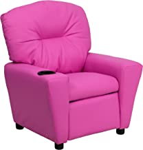 Contemporary Hot Pink Vinyl Kids Recliner with Cup Holder