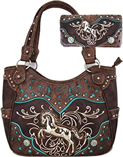 Western Antique silver horsehead Printed Wallet Wristlet Pack Small Pouch Coin Purse Crossbody