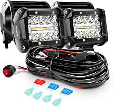 Nilight - ZH416 4PCS 4Inch 60W Triple Row Flood Spot Combo 6000LM LED Pods Light Bar Driving Boat Led Off Road Lights with...