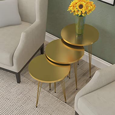 Set of 3 HIGH Gloss Nesting End Tables - PAK Home Round Wood Stacking Coffee Side Accent Tables with Metal Legs for Living Ro