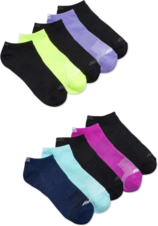 Avia Women's Performance Flatknit No Show Socks, Moisture Wicking 10 Pack