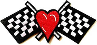 Red Heart Checkered Black White Flag Race Track Racing Biker Motorcycle Jacket Vest Sew on Iron on Embroidered Applique Patch