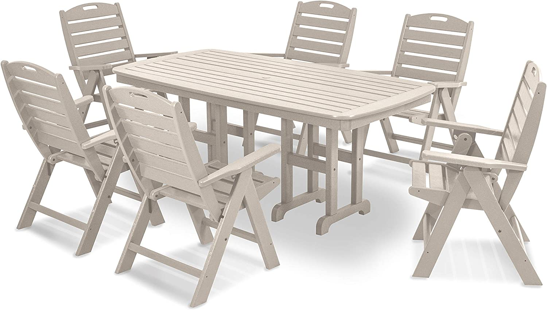 POLYWOOD PWS125-1-SA Nautical 7-Piece Max 51% OFF Superior Dining Set Sand