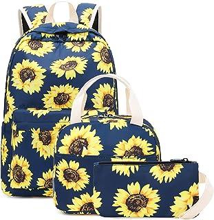 BLUBOON Teens Backpack Set Girls School Bags Kids Bookbags 3 in 1 (Sunflower Blue)