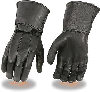 Milwaukee Leather SH864 Men`s Black Deerskin Unlined Gauntlet Gloves - X-Large