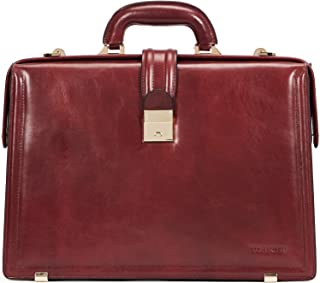 BOSTANTEN Men Leather Briefcase Vintage Lawyer Attache Case Business Lock Laptop Messenger Bag Reddish Brown