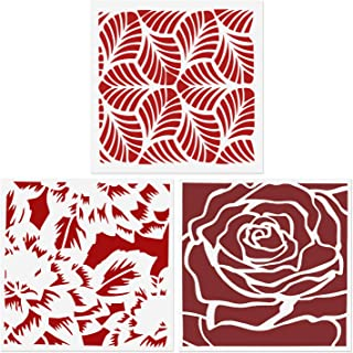 CODOHI 3 Packs Leaves Peony Rose Stencils Reusable Painting Template for Home Decor, Crafting, DIY Albums, Scrapbook & Printing on Paper, Floor, Wall, Tile, Fabric, Wood 5.9x5.9