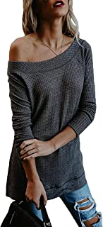 Suimiki Women's Oversized Sweater Off Shoulder Knit Pullovers Tunic Tops Grey Medium