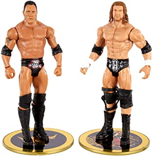 WWE The Rock Vs Triple H Championship Showdown 2-Pack 6-in / 15.24-cm Action Action Figures Friday Night Smackdown Battle Pack for Ages 6 Years Old