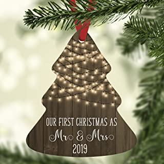 Our First Christmas as Mr and Mrs Ornament 2019 with Farmhouse White Lights and Rustic Wood Background, Tree Shaped
