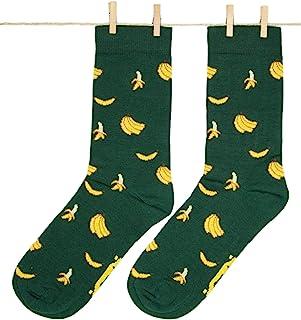 Roits, Calcetines Bananas Verde Mujer 36-40 - Calcetines Divertidos de Dibujos Originales Estampados