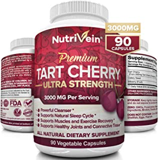 Nutrivein Tart Cherry Capsules 3000mg - 90 Vegan Pills - Antioxidants, Flavonoids - Supports Uric Acid Cleanse, Pain Relie...