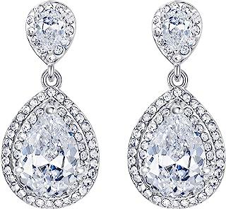 EVER FAITH® Damen Bling CZ österreichisch Kristall Braut Tropfen Pireced Dangle Ohrringe Silber-Ton