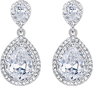 EVER FAITH Women's Cubic Zirconia Crystal Wedding Tear Drop Earrings Silver-Tone