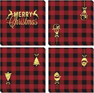 Aneco 60 Pack Red and Black Plaid with Gold Foil Papers Napkin Luncheon Napkins for Wedding, Party, Birthday, Dinner, Lunch with 2 Layers, 6.5 by 6.5 Inches, 4 Style