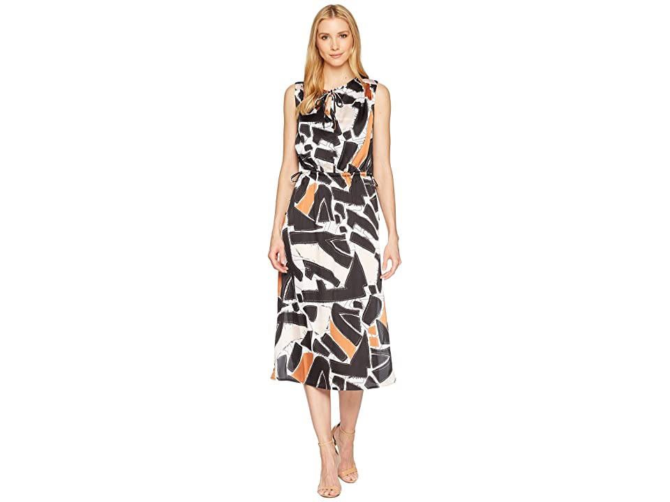 Kenneth Cole New York Triple Tie Column Dress (Embroidered Shapes/Black) Women