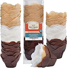 Baker's Signature Lotus Baking Paper Cupcake & Muffin Liners Pack of 150 | Grease Resistant Wrappers – Will Not Curl or Bu...