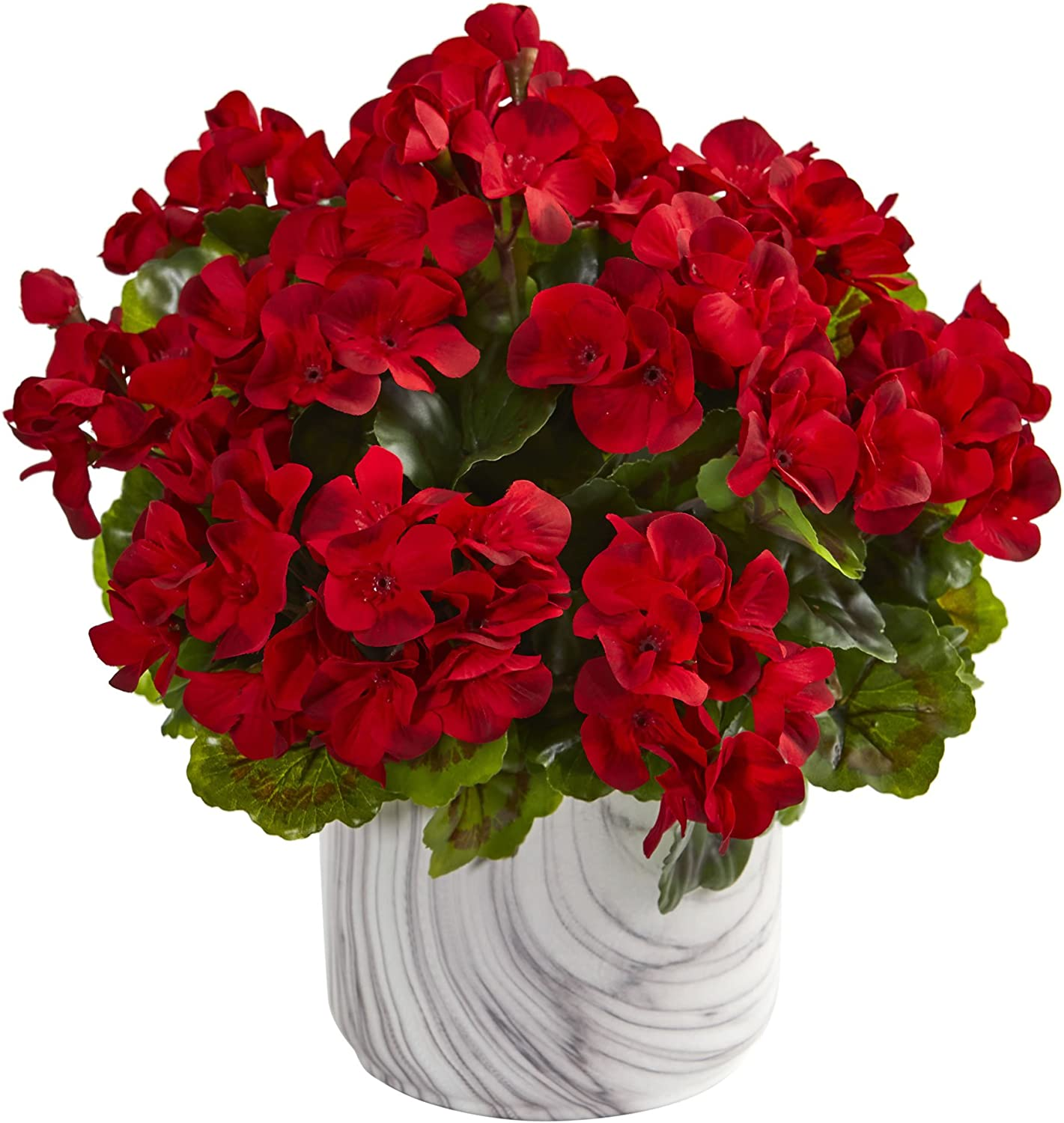 Nearly Natural 8149-RD Geranium Artificial Marble Finished Vase UV Resistant (Indoor Outdoor) Silk Plants Red
