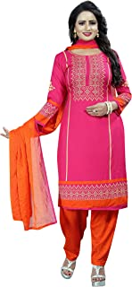 Rensila Fab Women's French Crepe Unstitched Dress Material (RFO_VEDA PINK_D_Pink_Free Size)