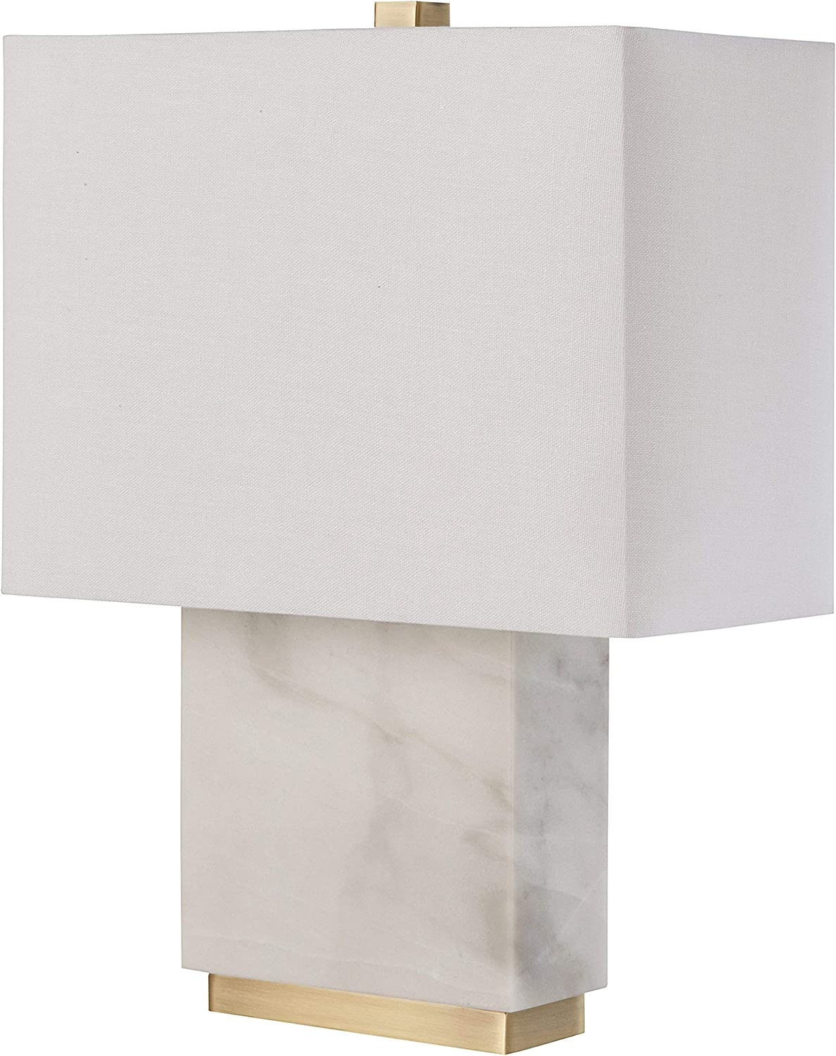 Rivet Mid-Century Marble and Brass Table Lamp, With Bulb, 17  x 6.5  x 13.5