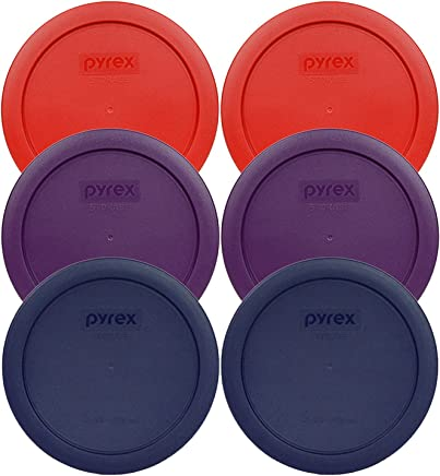 Pyrex 7201-PC Round 4 Cup Storage Container Lids for Glass Bowls (2-Poppy Red,  2-Purple,  2-Navy Blue)