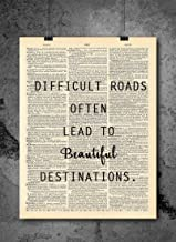 Difficult Roads Quote Dictionary Art Print – Vintage Dictionary Print 8×10..