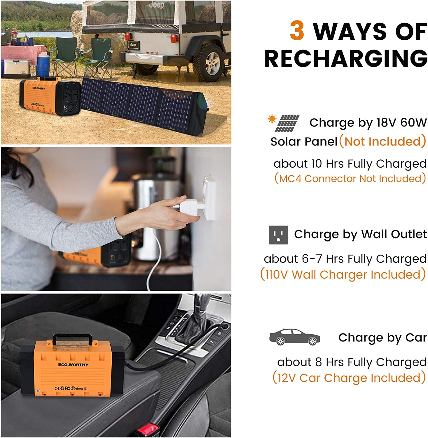 DC HOUSE 300Watt Portable Power Station 288Wh//78000mAh Solar Generator UPS Rechargeble Emergency Lithium Battery Backup Pure Sine Wave AC Outlet Power Supply with Flashlight for CPAP Camping Travel Laptop