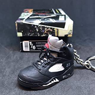 Air Jordan V 5 Retro Black Metallic Silver 23 OG Sneakers Shoes 3D Keychain 1:6 Figure + Shoe Box