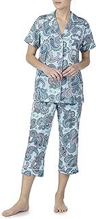 Aqua Cloud Paisley 2 Piece Notch Collar Pajama Sleep Set