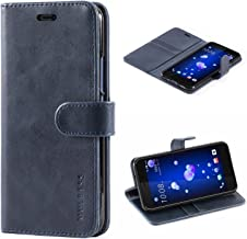 Mulbess HTC U11 Protective Cover, Magnetic Closure RFID Blocking Luxury Flip Folio Leather Wallet Phone Case with Card Slots and Kickstand for HTC U11, Navy Blue