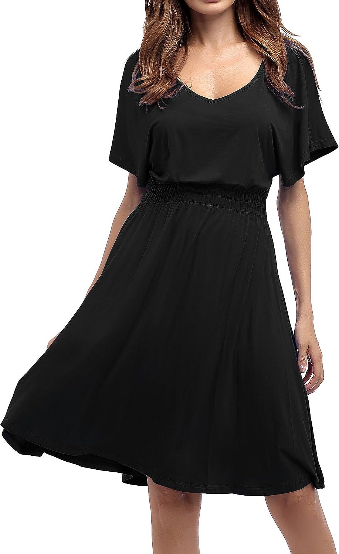 Sarin Mathews Womens Sexy V Neck Cap Sleeve Summer Casual Flared Midi Dress
