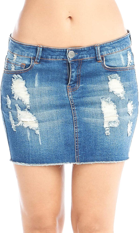 Hollywood Star Fashion Women's Distressed Denim Mini Skirt