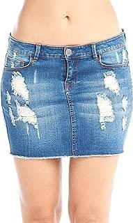 Women's Distressed Denim Mini Skirt