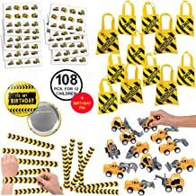 RBBZ party 108 Piece Construction Favors Party Supplies Pack Birthday Bundle for 12 kids