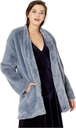 Faux Fur Seamed Coat