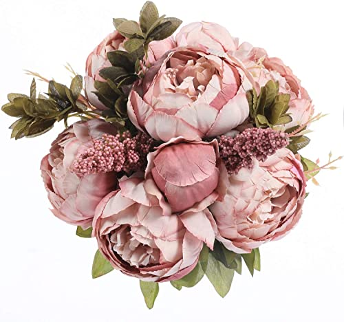 Luyue Vintage Artificial Peony Silk Flowers Bouquet Home Wedding Decoration (Spring Cameo Brown)