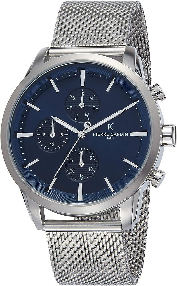 Pierre cardin,orologio da uomo multi quadrante,in acciaio inossidabile PC902741F105