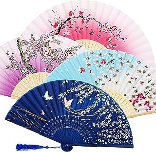 Lot de 4 Ventilateurs Pliables en Bambou avec Pompon pour Femme en Bambou Creux pour décoration Murale, 4 Pièces, Violet, ...