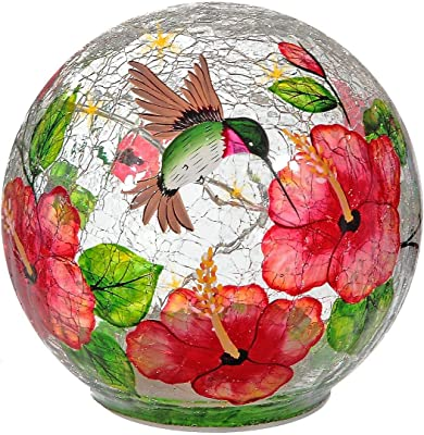 Indian Handicrafts Hummingbird with Hibiscus Crackled Glass Globe with Led HOMEDECOR, Bird