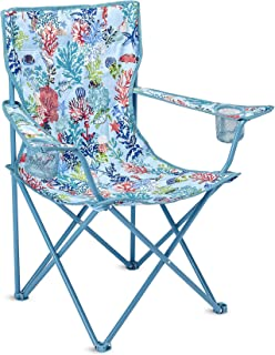 Portable Folding Chair with Cup Holders and Matching Cover with Shoulder Strap, Holds Up to 225 Pounds