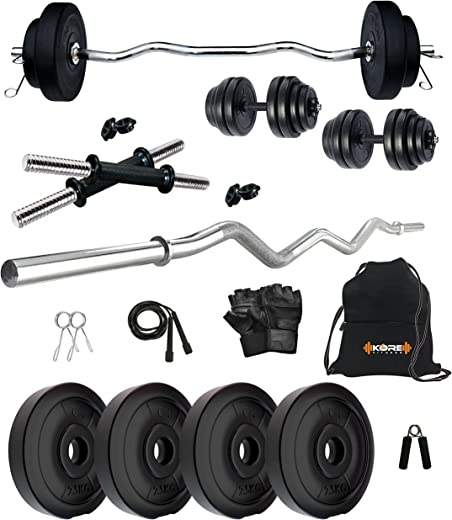 Kore PVC 10-30 Kg Home Gym Set with One 3 Ft Curl and One Pair Dumbbell Rods with Gym Accessories