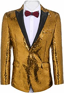 Shiny Sequins Suit Jacket Blazer One Button Tuxedo for Party, Wedding, Banquet, Prom, Nightclub