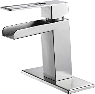 Gangang Lead Free Commercial Waterfall Bathroom Sink Faucet One Hole Single Handle Chrome Bath Lavatory Vanity Basin Faucets Deck Mount,Brush Nickle FN0210