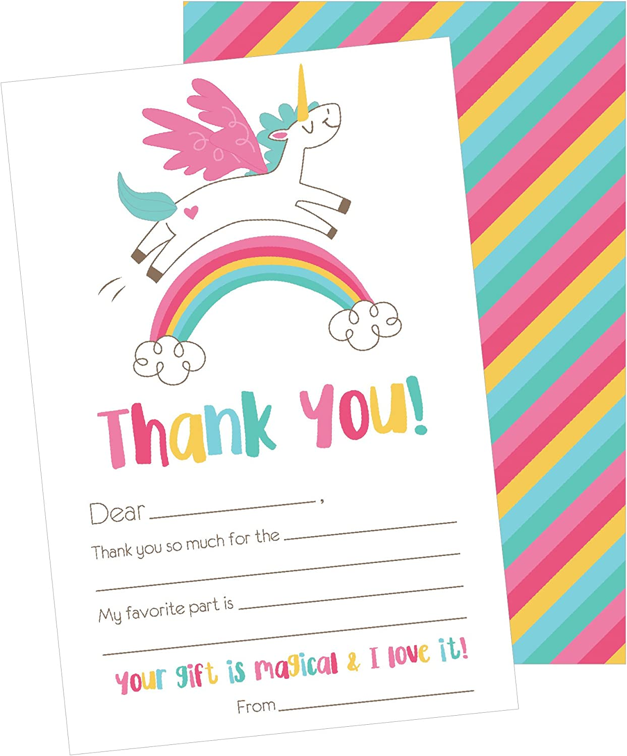 25 Unicorn Kids Thank You Cards, Fill In Thank You Notes For Kid, Blank Personalized Thank Yous For Birthday Gifts, Stationery For Children Boys and Girls